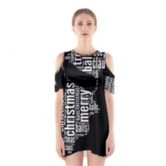 Funny Santa Black And White Typography Cutout Shoulder Dress