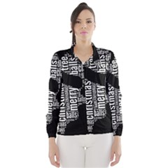 Funny Santa Black And White Typography Wind Breaker (women)