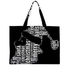 Funny Santa Black And White Typography Zipper Large Tote Bag