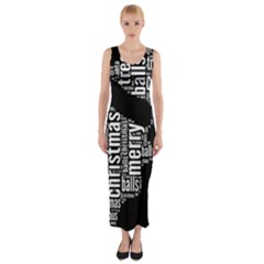 Funny Santa Black And White Typography Fitted Maxi Dress