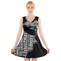 Funny Santa Black And White Typography V-Neck Sleeveless Skater Dress