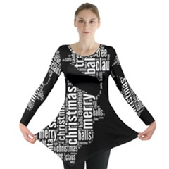 Funny Santa Black And White Typography Long Sleeve Tunic