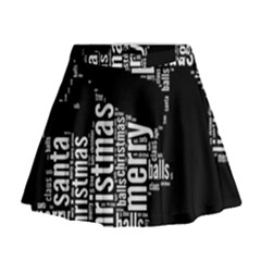 Funny Santa Black And White Typography Mini Flare Skirt