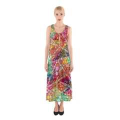 Colorful Chemtrail Bubbles Sleeveless Maxi Dress