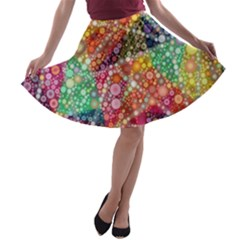 Colorful Chemtrail Bubbles A Line Skater Skirt
