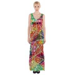 Colorful Chemtrail Bubbles Maxi Thigh Split Dress