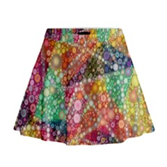 Colorful Chemtrail Bubbles Mini Flare Skirt