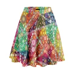 Colorful Chemtrail Bubbles High Waist Skirt