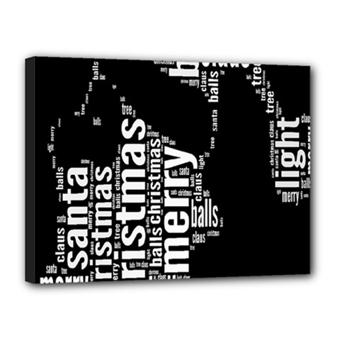 Funny Merry Christmas Santa, Typography, Black and White Canvas 16  x 12