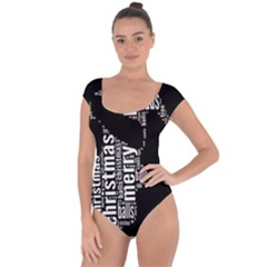Funny Merry Christmas Santa, Typography, Black and White Short Sleeve Leotard (Ladies)