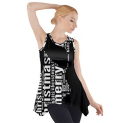 Funny Merry Christmas Santa, Typography, Black and White Side Drop Tank Tunic