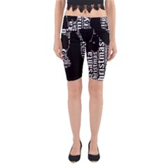 Funny Merry Christmas Santa, Typography, Black And White Yoga Cropped Leggings