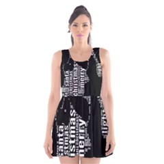 Funny Merry Christmas Santa, Typography, Black and White Scoop Neck Skater Dress