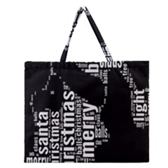 Funny Merry Christmas Santa, Typography, Black And White Zipper Large Tote Bag