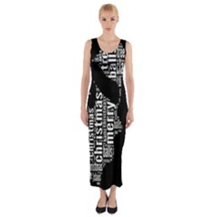 Funny Merry Christmas Santa, Typography, Black And White Fitted Maxi Dress