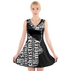 Funny Merry Christmas Santa, Typography, Black and White V-Neck Sleeveless Skater Dress