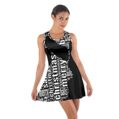 Funny Merry Christmas Santa, Typography, Black and White Racerback Dresses