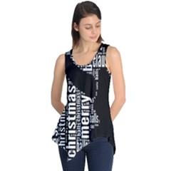 Funny Merry Christmas Santa, Typography, Black And White Sleeveless Tunic