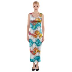 Bubble Waves Fitted Maxi Dress
