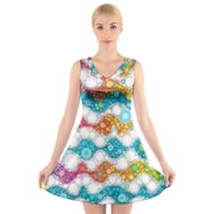 Bubble Waves V-Neck Sleeveless Skater Dress