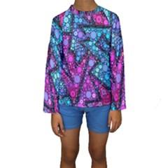 Blues Bubble Love Kid s Long Sleeve Swimwear