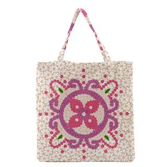 Hindu Flower Ornament Background Grocery Tote Bag