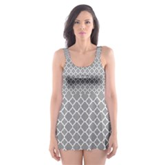 Grey Quatrefoil Pattern Skater Dress Swimsuit