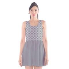 Grey Quatrefoil Pattern Scoop Neck Skater Dress