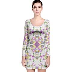 Geometric Boho Chic Long Sleeve Velvet Bodycon Dress
