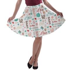 Lovely Valentine s Day Pattern A-line Skater Skirt