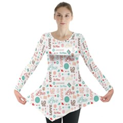 Lovely Valentine s Day Pattern Long Sleeve Tunic