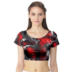 Amazing Fractal 25 Short Sleeve Crop Top (Tight Fit)