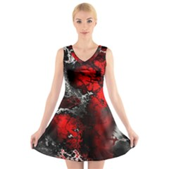 Amazing Fractal 25 V-Neck Sleeveless Skater Dress