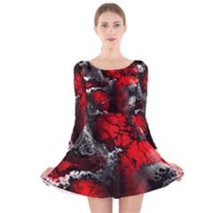 Amazing Fractal 25 Long Sleeve Velvet Skater Dress