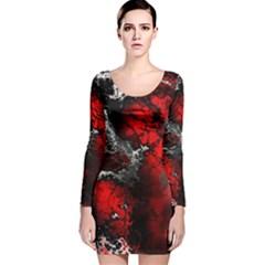 Amazing Fractal 25 Long Sleeve Velvet Bodycon Dress