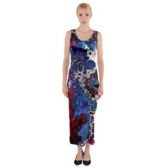 Amazing Fractal 28 Fitted Maxi Dress
