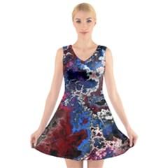 Amazing Fractal 28 V Neck Sleeveless Skater Dress