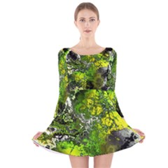 Amazing Fractal 27 Long Sleeve Velvet Skater Dress