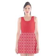 Poppy red quatrefoil pattern Scoop Neck Skater Dress