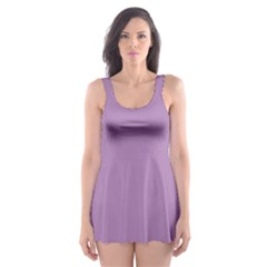 Purple Lilac White Quatrefoil Classic Pattern Skater Dress Swimsuit