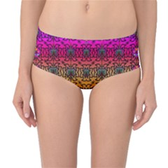 Butterflies Flowers And Panda Bears In Heavy Metal Style Mid-Waist Bikini Bottoms