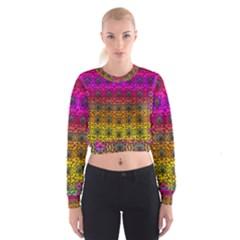 Butterflies Flowers And Panda Bears In Heavy Metal Style Women s Cropped Sweatshirt