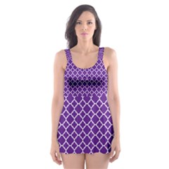 Royal Purple Quatrefoil Pattern Skater Dress Swimsuit