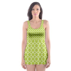 Spring Green Quatrefoil Pattern Skater Dress Swimsuit
