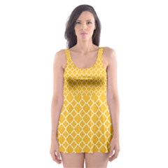 Sunny Yellow quatrefoil pattern Skater Dress Swimsuit