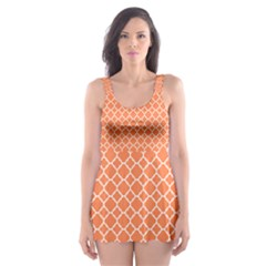 Tangerine Orange Quatrefoil Pattern Skater Dress Swimsuit