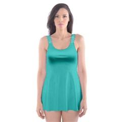 Turquoise Quatrefoil Pattern Skater Dress Swimsuit