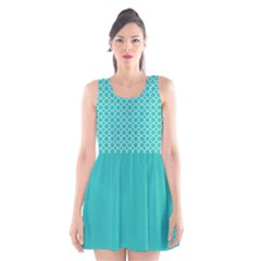 Turquoise Quatrefoil Pattern Scoop Neck Skater Dress