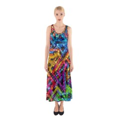 Color Play in Bubbles Sleeveless Maxi Dress