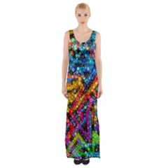 Color Play in Bubbles Maxi Thigh Split Dress